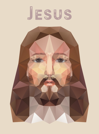 painted face: Hand drawn face of Jesus Christ, low poly watercolor vector illustration. Easter. Ressurection.