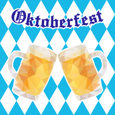 oktober: Oktoberfest illustration with two mugs of beer on background of blue rhombuses.