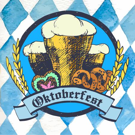 vasos de cerveza: ilustración Oktoberfest con vasos de cerveza, galletas saladas, pan de jengibre corazón y los oídos de cereales secos. rombo fondo azul.