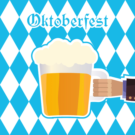 Oktoberfest illustration with hand of man holding mug of beer on background of blue rhombuses.