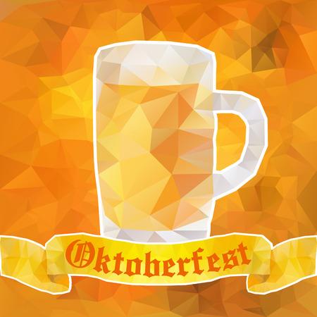octoberfest: Gran jarra de cerveza Oktoberfest y el signo. Ilustración del vector. Poli baja. Vectores