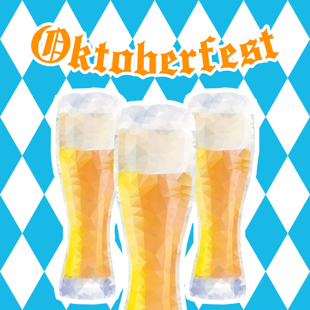 Oktoberfest vector illustration with three glasses of beer on background of blue rhombuses.