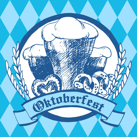oktober: Oktoberfest vector illustration with beer glasses, pretzels, gingerbread heart and dried cereal ears. Blue rhombus background.