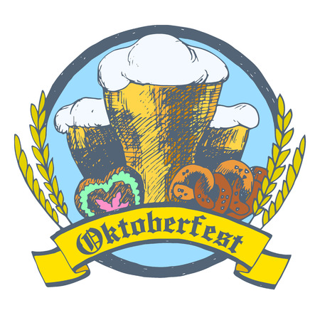 Oktoberfest vector illustration with beer glasses, pretzels, gingerbread heart and dried cereal ears. White background.