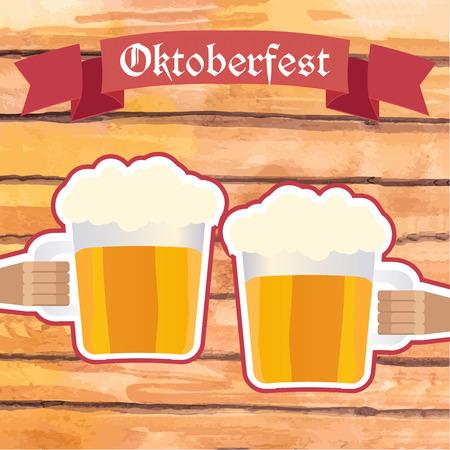 Ilustración del vector. signo Octoberfest con manos de dos hombres que sostienen jarras de cerveza, chocan. fondo de planchas de madera. Ilustración de vector