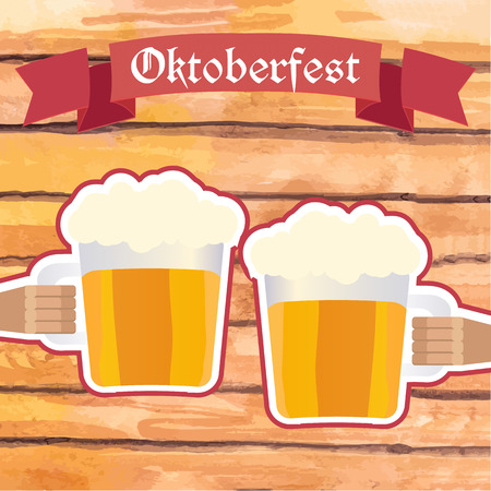 hands holding sign: Vector illustration. Octoberfest sign with hands of two men holding mugs of beer, clinking. Wooden plank background. Illustration