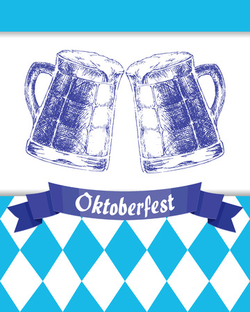 Vector illustration. Oktoberfest sign and two hand drawn mugs of beer on background of blue rhombuses. Illustration