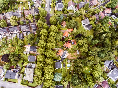 front  or back  yard: Aerial view of Dutch town, houses with gardens, green park with trees