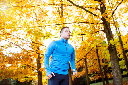 sweatshirt: Young handsome hipster athlete in blue sweatshirt running outside in colorful sunny autumn nature