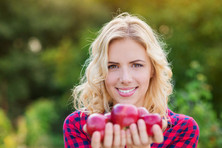 blond girl: Beautiful young blond woman in checked red shirt harvesting apples, holding them in her hands
