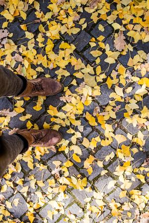 unrecognizable person: Legs of unrecognizable person in winter boots. Colorful autumn leaves on old cobblestone pavement
