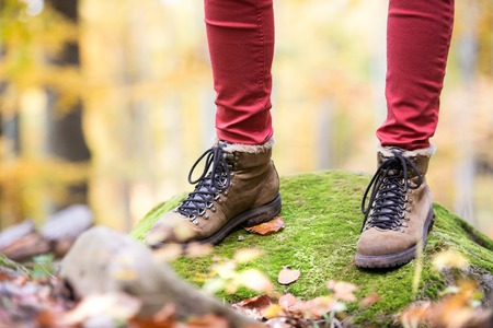 hiking shoes: Close up of legs of unrecognizable woman in autumn nature standing on a rock covered with green moss. Hiking shoes.