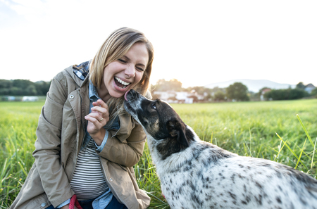laughing face: Beautiful young pregnant woman on a walk with a dog in green sunny nature, dog licking her face