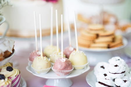 cakestand: Table with white and pink cake pops on cakestand, meringues and cupcakes. Candy bar.