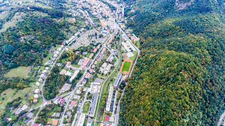 residential neighborhood: Aerial view of residential neighborhood and cementery in Nova Bana, Slovakia. Stock Photo