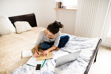 woman in bed: Beautiful young woman sitting on bed, working on laptop, writing something into her notebook, home office. Stock Photo