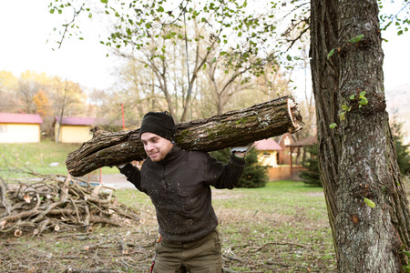 winter wood: Man carrying tree trunk on his shoulders for heating in winter. Stock Photo