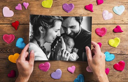 Fathers day concept, family photo. Studio shot. Stock Photo
