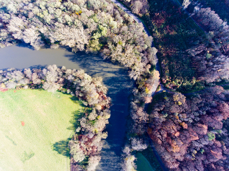 Aerial view of colorful autumn forest. 版權商用圖片
