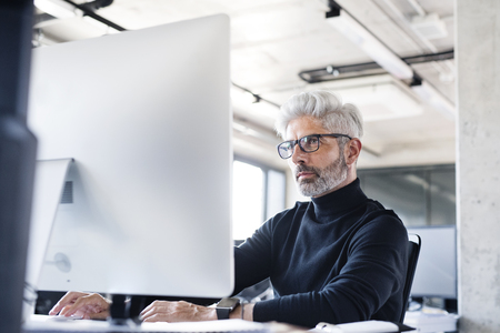 Mature businessman with computer in the office.