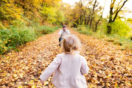 Klein meisje loopt naar haar vader. Kleurrijk de herfstbos. Stockfoto