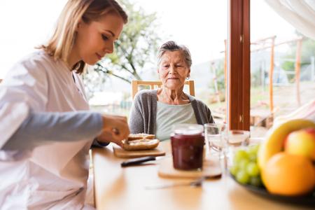 Gesundheit Besucher und eine ältere Frau während der Heimat Standard-Bild - 88089828