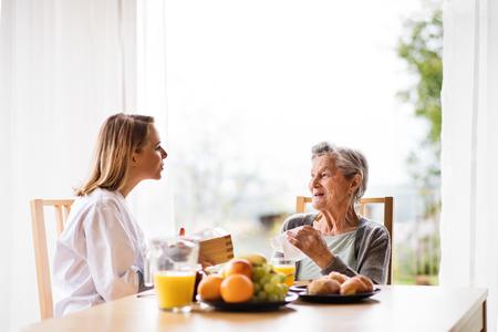 건강 방문자와 집 방문 동안 수석 여자. 스톡 콘텐츠