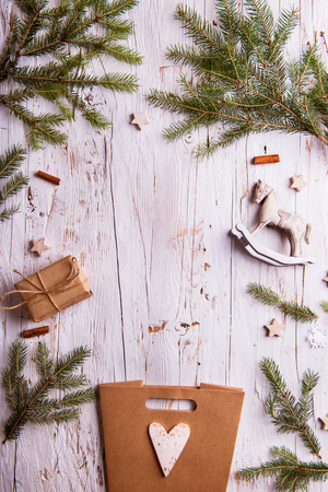 Christmas composition on a wooden background. Flat lay. Copy space.