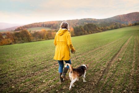 Senior donna con cane su una passeggiata in una natura autunnale.