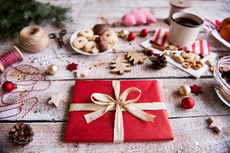 Christmas composition on a wooden background. Stock Photo