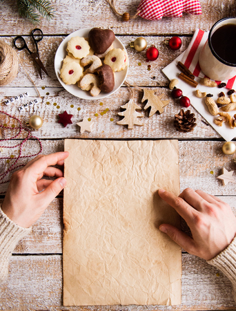 Christmas composition on a wooden background. Banco de Imagens