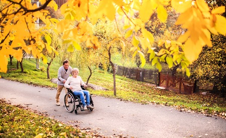 Senior couple in wheelchair in autumn nature. 免版税图像