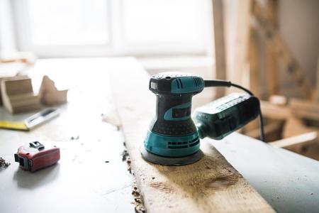 Electric tool in a carpenter workroom. Foto de archivo