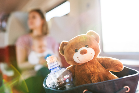 Young mother travelling with baby by train. Stockfoto