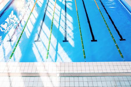 Lanes of an indoor public swimming pool. Foto de archivo