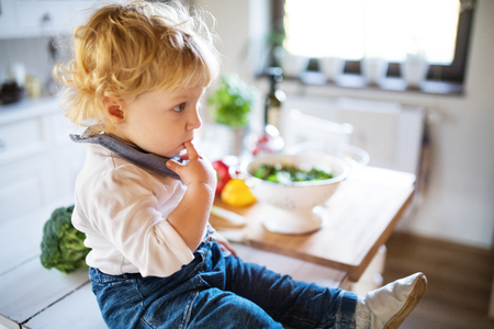 Toddler boy in the kitchen. Stock Photo