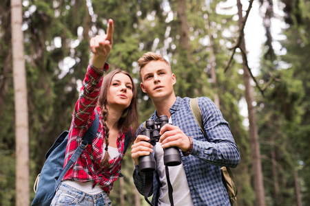 Teenage couple hiking in forest. Summer vacation. Banque d'images