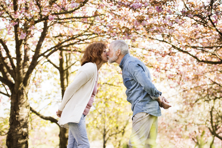 Senior couple in love outside in spring nature kissing. Banque d'images