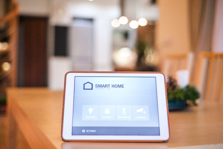 A tablet with smart home screen.