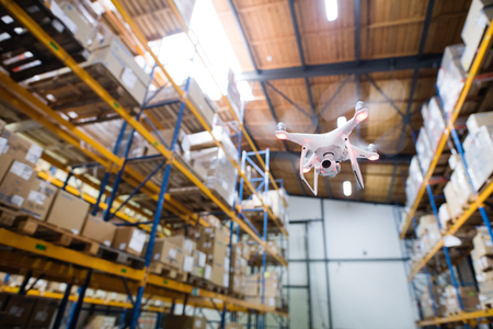 Drone flying inside the warehouse.