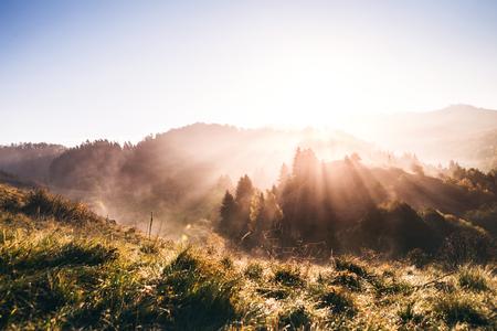Sunrise in an autumn nature.