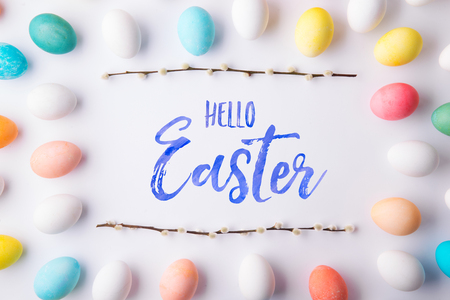Hello Easter flat lay on a white background. Banco de Imagens - 97647914