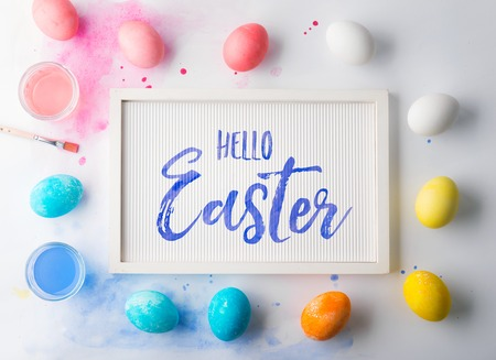 Hello Easter flat lay on a white background. Banco de Imagens - 97647927