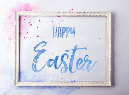 Happy Easter flat lay on a white background. Banco de Imagens - 97647929