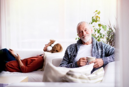 Senior couple sitting on the sofa and relaxing at home.