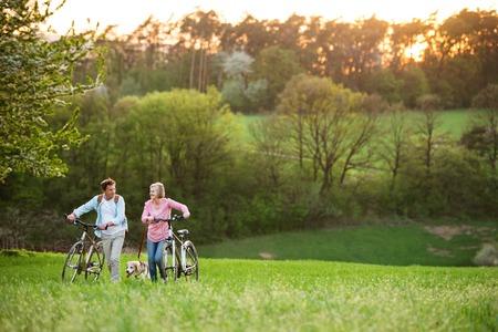 Hermosa pareja senior con bicicletas y perro al aire libre en la naturaleza de primavera.