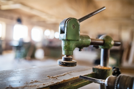 A woodworking equipment in carpentry workshop.