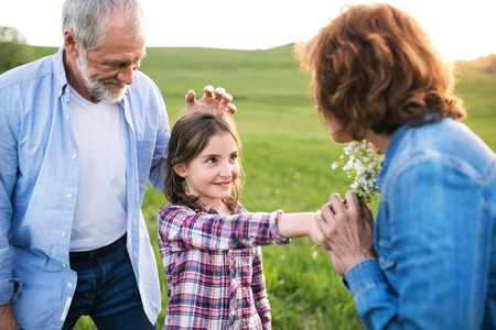A small girl with her senior grandparents having fun outside in nature at sunset. Reklamní fotografie