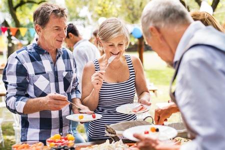 Familienfeier oder Gartenfest draußen im Hinterhof. Standard-Bild - 102679096