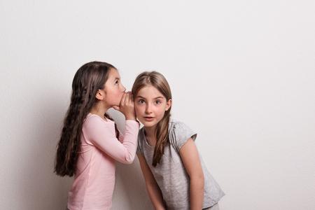 Una pequeña niña susurrando algo al oído de su amiga.
